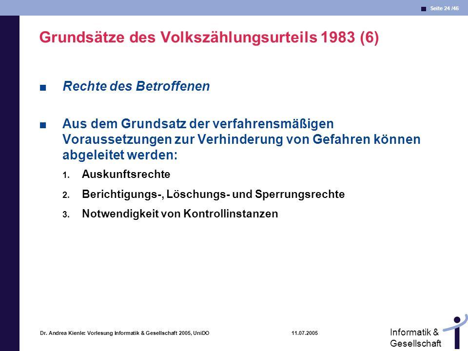 Seite 24 /46 Informatik & Gesellschaft Dr. Andrea Kienle: Vorlesung Informatik & Gesellschaft 2005, UniDO 11.07.2005 Grundsätze des Volkszählungsurtei