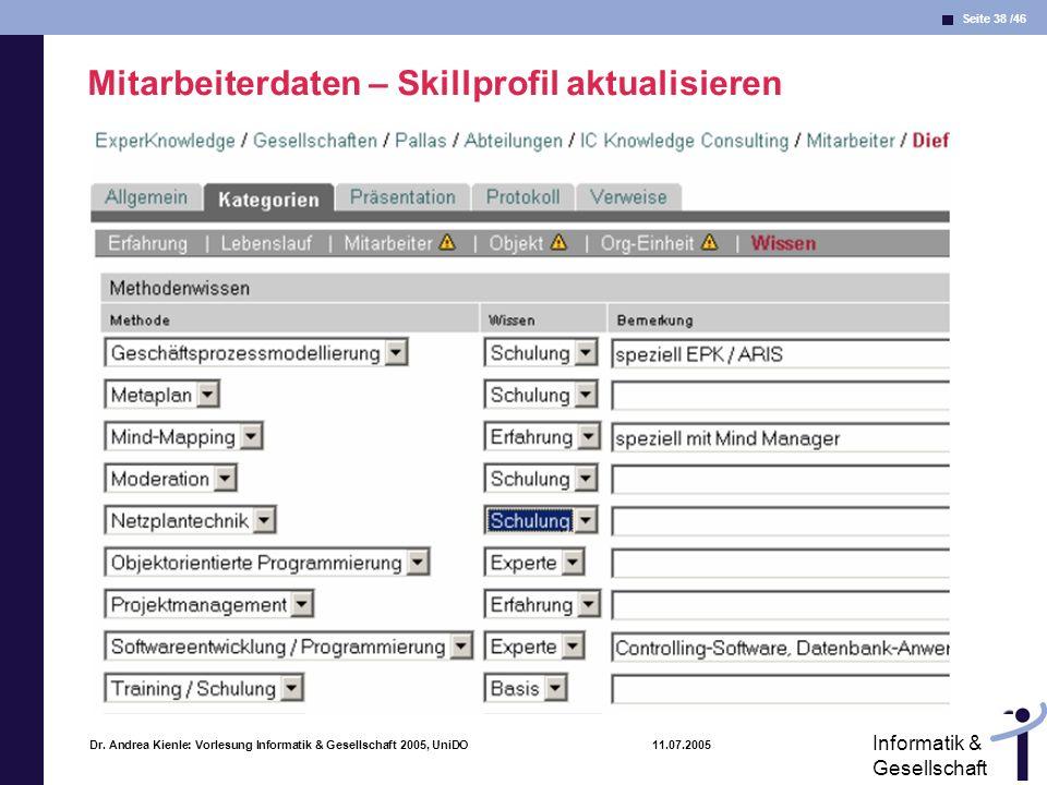Seite 38 /46 Informatik & Gesellschaft Dr. Andrea Kienle: Vorlesung Informatik & Gesellschaft 2005, UniDO 11.07.2005 Mitarbeiterdaten – Skillprofil ak
