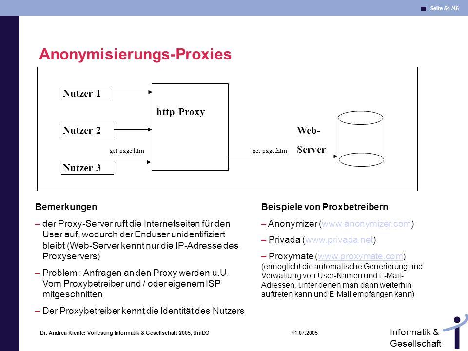 Seite 54 /46 Informatik & Gesellschaft Dr. Andrea Kienle: Vorlesung Informatik & Gesellschaft 2005, UniDO 11.07.2005 Nutzer 1 http-Proxy Nutzer 2Web-