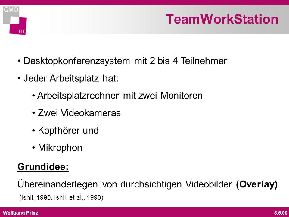 Wolfgang Prinz3.5.00 Desktopkonferenzsystem mit 2 bis 4 Teilnehmer Jeder Arbeitsplatz hat: Arbeitsplatzrechner mit zwei Monitoren Zwei Videokameras Kopfhörer und Mikrophon Grundidee: Übereinanderlegen von durchsichtigen Videobilder (Overlay) (Ishii, 1990, Ishii, et al., 1993) TeamWorkStation