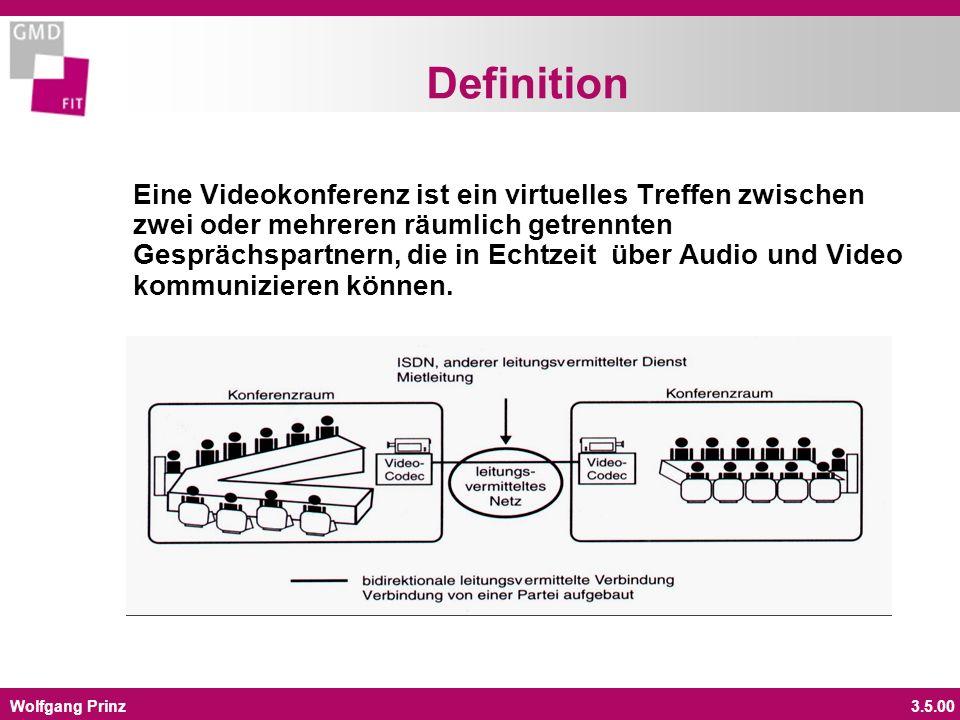 Wolfgang Prinz3.5.00 Definition Eine Videokonferenz ist ein virtuelles Treffen zwischen zwei oder mehreren räumlich getrennten Gesprächspartnern, die
