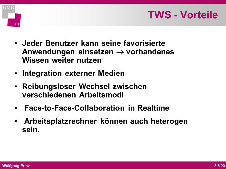 Wolfgang Prinz3.5.00 TWS - Vorteile Jeder Benutzer kann seine favorisierte Anwendungen einsetzen vorhandenes Wissen weiter nutzen Integration externer Medien Reibungsloser Wechsel zwischen verschiedenen Arbeitsmodi Face-to-Face-Collaboration in Realtime Arbeitsplatzrechner können auch heterogen sein.