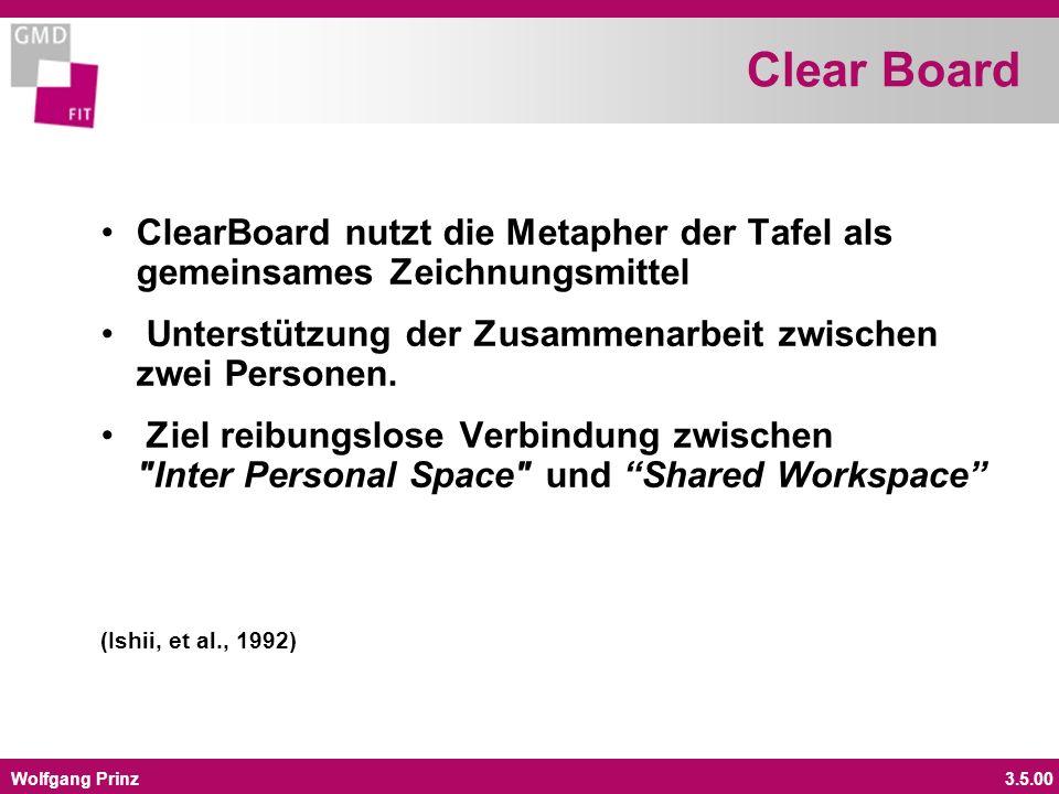 Wolfgang Prinz3.5.00 Clear Board ClearBoard nutzt die Metapher der Tafel als gemeinsames Zeichnungsmittel Unterstützung der Zusammenarbeit zwischen zwei Personen.