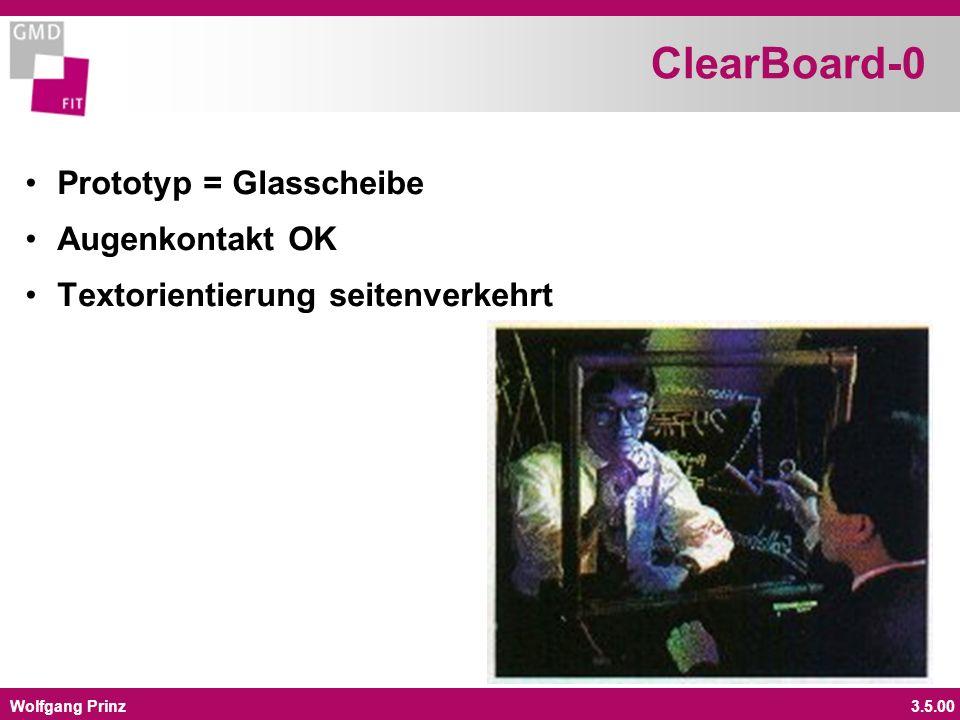 Wolfgang Prinz3.5.00 ClearBoard-0 Prototyp = Glasscheibe Augenkontakt OK Textorientierung seitenverkehrt