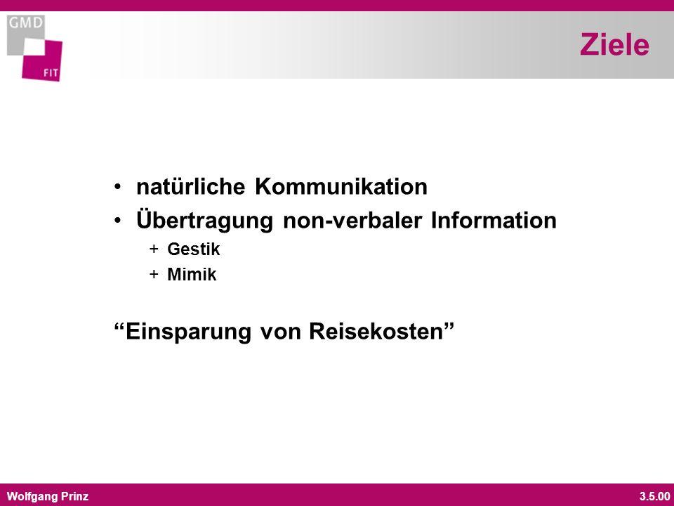 Wolfgang Prinz3.5.00 Ziele natürliche Kommunikation Übertragung non-verbaler Information +Gestik +Mimik Einsparung von Reisekosten