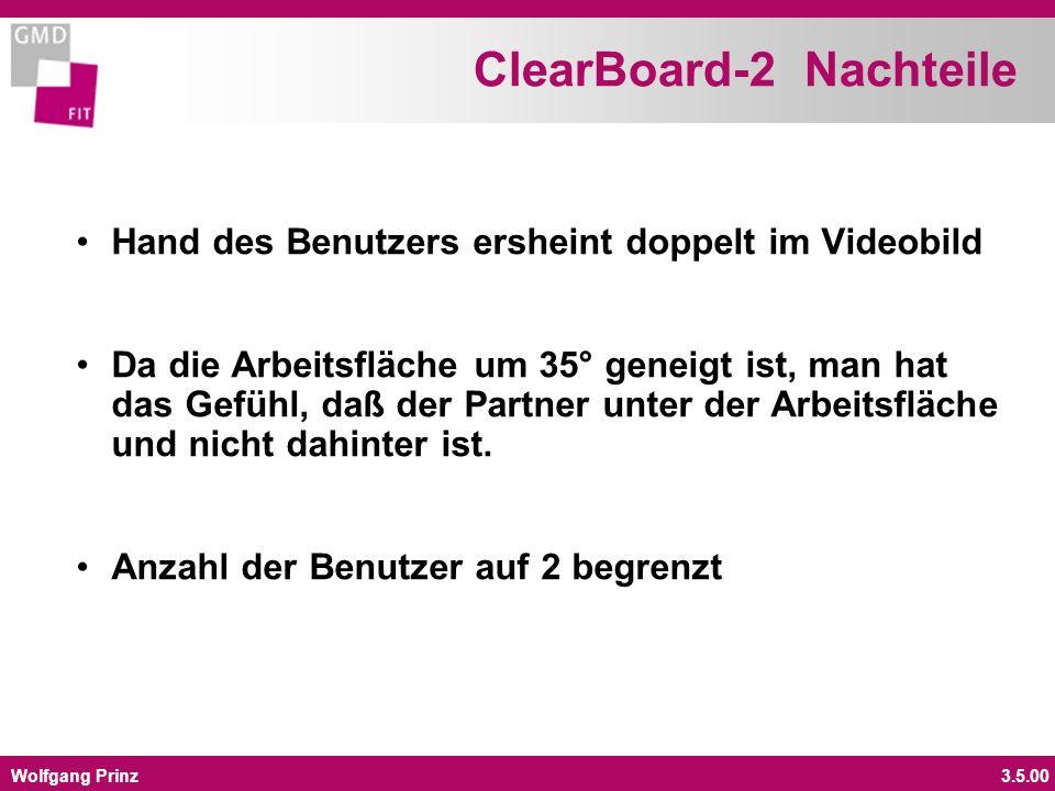 Wolfgang Prinz3.5.00 ClearBoard-2 Nachteile Hand des Benutzers ersheint doppelt im Videobild Da die Arbeitsfläche um 35° geneigt ist, man hat das Gefü