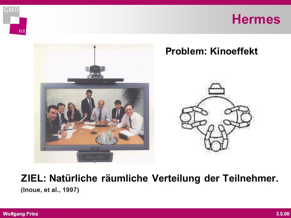 Wolfgang Prinz3.5.00 Hermes ZIEL: Natürliche räumliche Verteilung der Teilnehmer. (Inoue, et al., 1997) Problem: Kinoeffekt