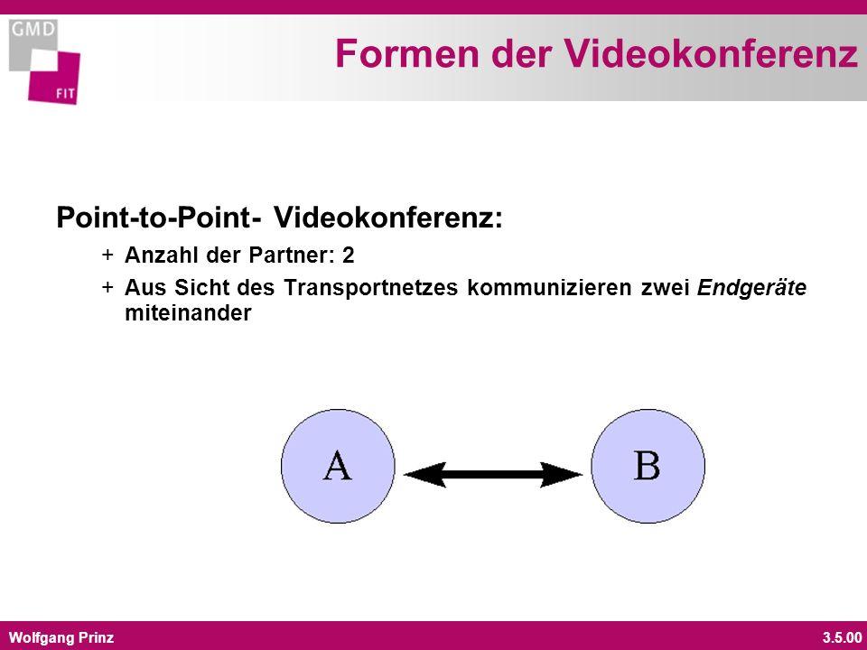 Wolfgang Prinz3.5.00 Formen der Videokonferenz Multipoint-Videokonferenz: + Anzahl der Partner: 3 oder mehr + Die verschiedenen Endgeraete werden durch eine Multipoint Control Unit (MCU) miteinander verbunden