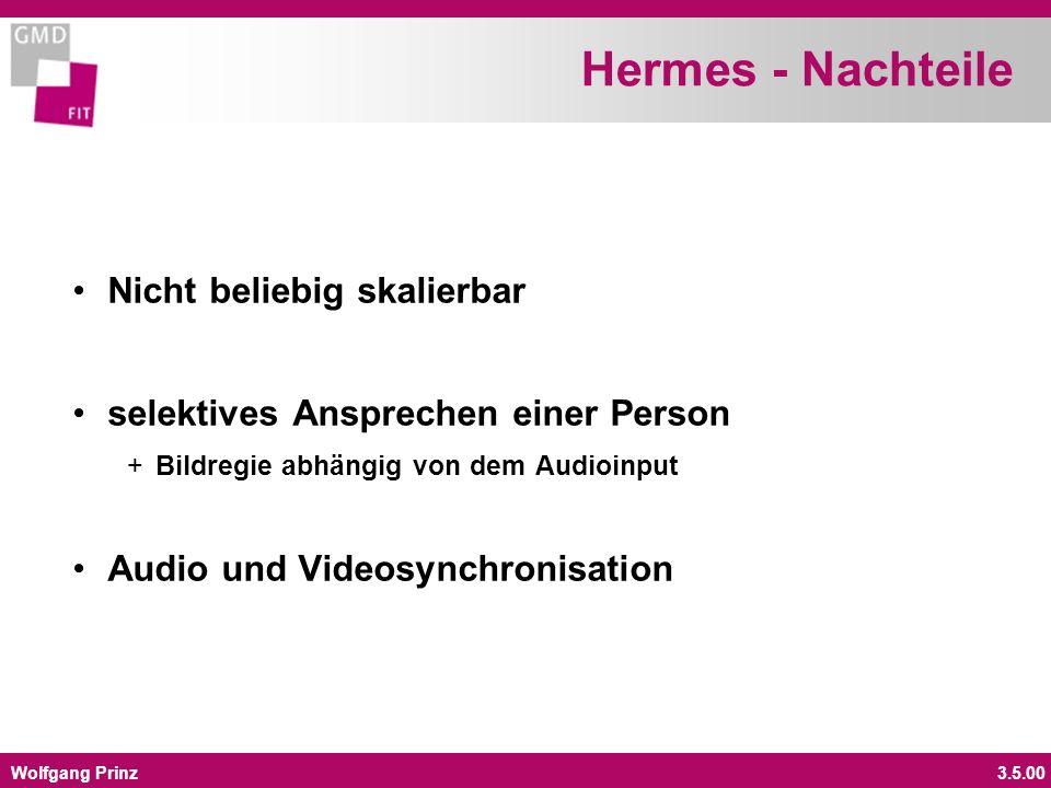 Wolfgang Prinz3.5.00 Hermes - Nachteile Nicht beliebig skalierbar selektives Ansprechen einer Person +Bildregie abhängig von dem Audioinput Audio und Videosynchronisation