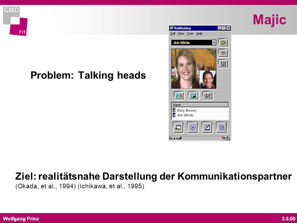 Wolfgang Prinz3.5.00 Majic Problem: Talking heads Ziel: realitätsnahe Darstellung der Kommunikationspartner (Okada, et al., 1994) (Ichikawa, et al., 1995)