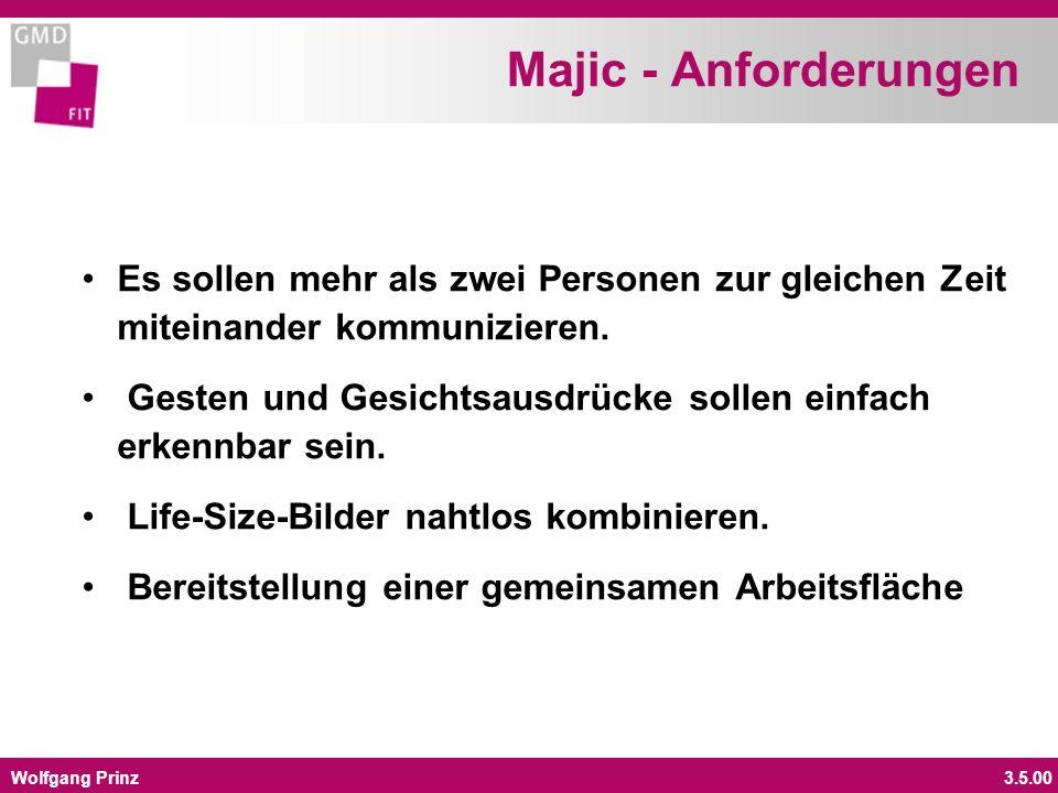 Wolfgang Prinz3.5.00 Majic - Anforderungen Es sollen mehr als zwei Personen zur gleichen Zeit miteinander kommunizieren. Gesten und Gesichtsausdrücke