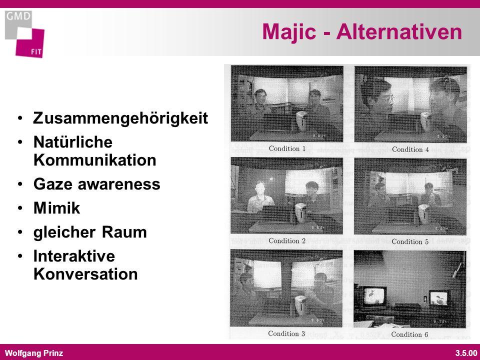 Wolfgang Prinz3.5.00 Majic - Alternativen Zusammengehörigkeit Natürliche Kommunikation Gaze awareness Mimik gleicher Raum Interaktive Konversation