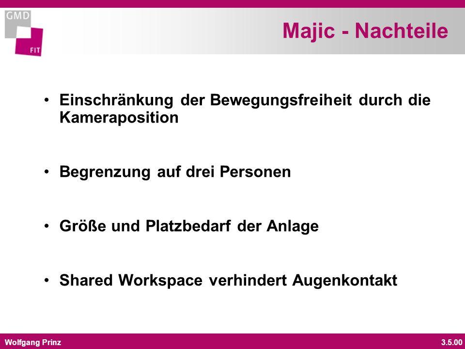 Wolfgang Prinz3.5.00 Majic - Nachteile Einschränkung der Bewegungsfreiheit durch die Kameraposition Begrenzung auf drei Personen Größe und Platzbedarf der Anlage Shared Workspace verhindert Augenkontakt