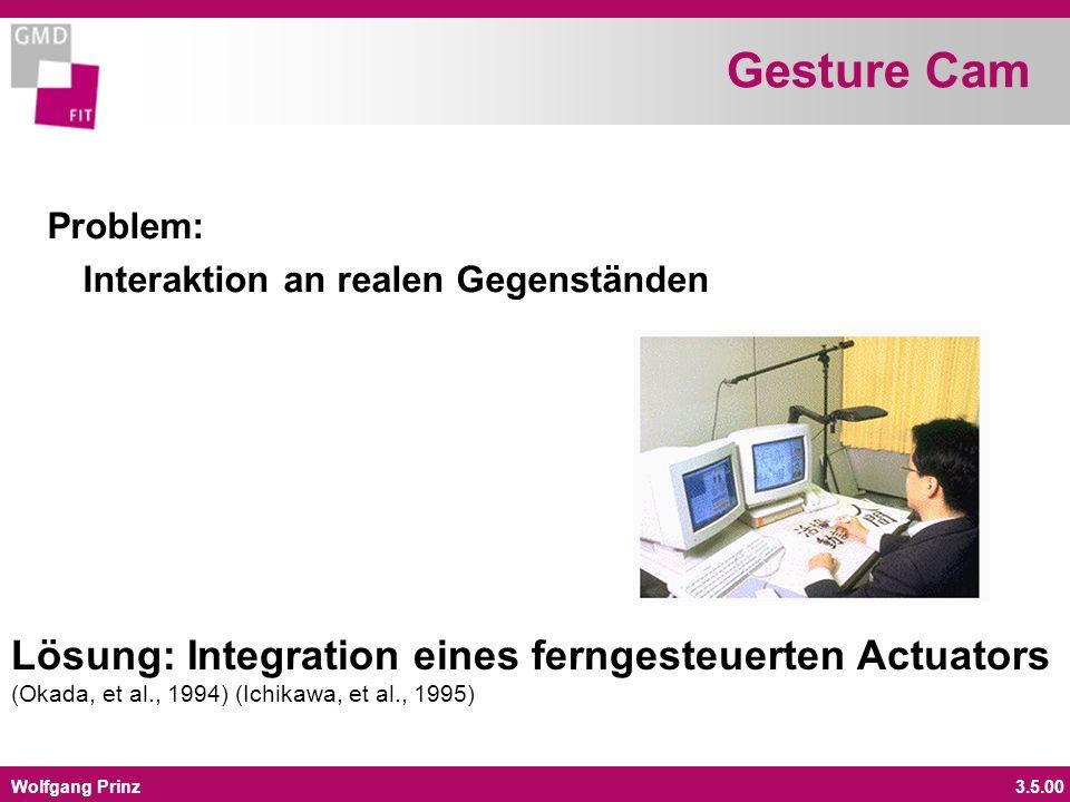 Wolfgang Prinz3.5.00 Gesture Cam Problem: Interaktion an realen Gegenständen Lösung: Integration eines ferngesteuerten Actuators (Okada, et al., 1994) (Ichikawa, et al., 1995)