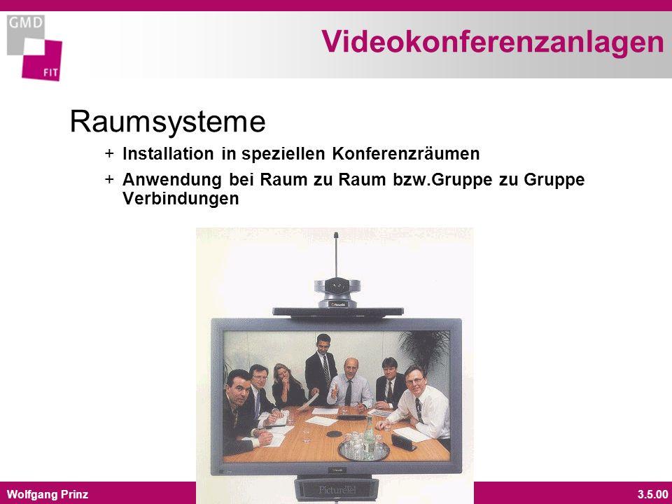 Wolfgang Prinz3.5.00 Videokonferenzanlagen Raumsysteme + Installation in speziellen Konferenzräumen + Anwendung bei Raum zu Raum bzw.Gruppe zu Gruppe