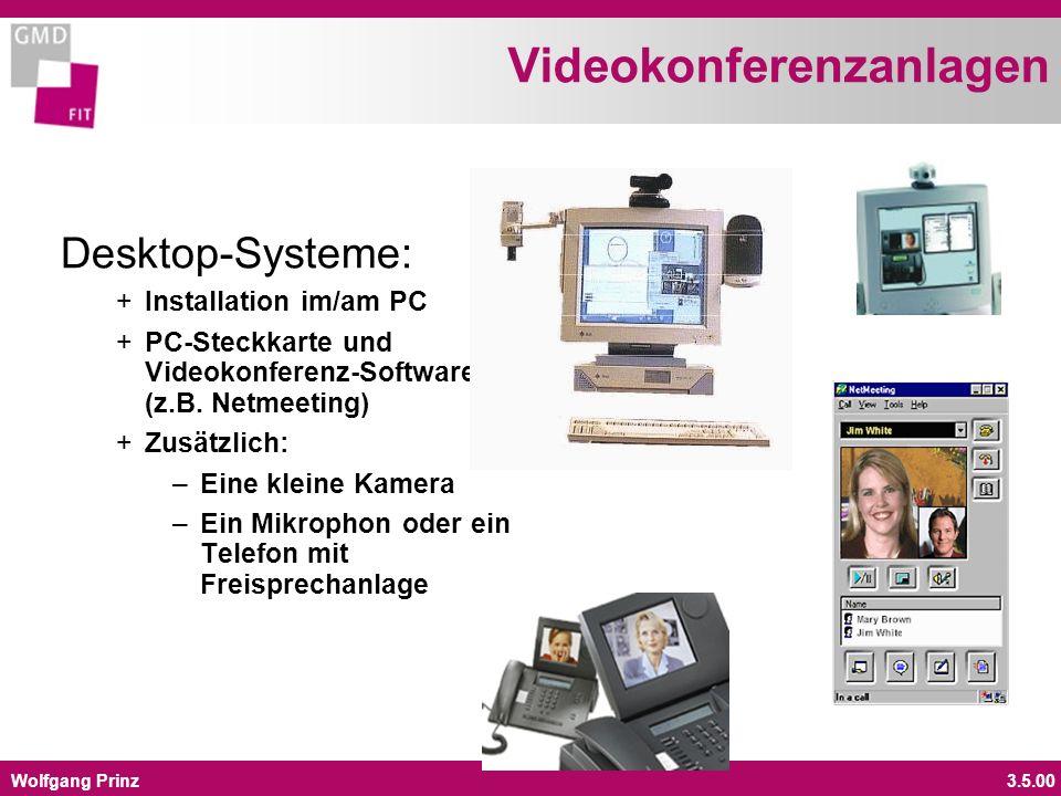 Wolfgang Prinz3.5.00 Videokonferenzanlagen Desktop-Systeme: + Installation im/am PC + PC-Steckkarte und Videokonferenz-Software (z.B. Netmeeting) + Zu