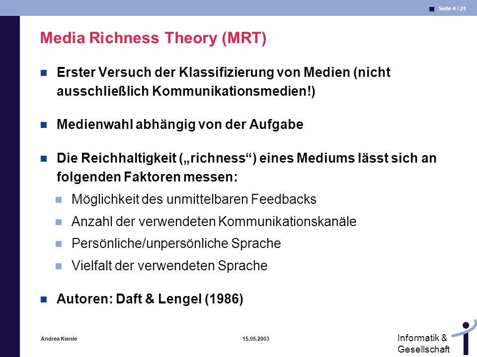 Seite 15 / 21 Informatik & Gesellschaft Andrea Kienle 15.05.2003 Konvergente und divergente Prozesse aus (Schwabe 1999) Divergenter Prozess Bezug zu MRT: Reduktion von Unsicherheiten Konvergenter Prozess Bezug zu MRT: Reduktion von Mehrdeutigkeiten
