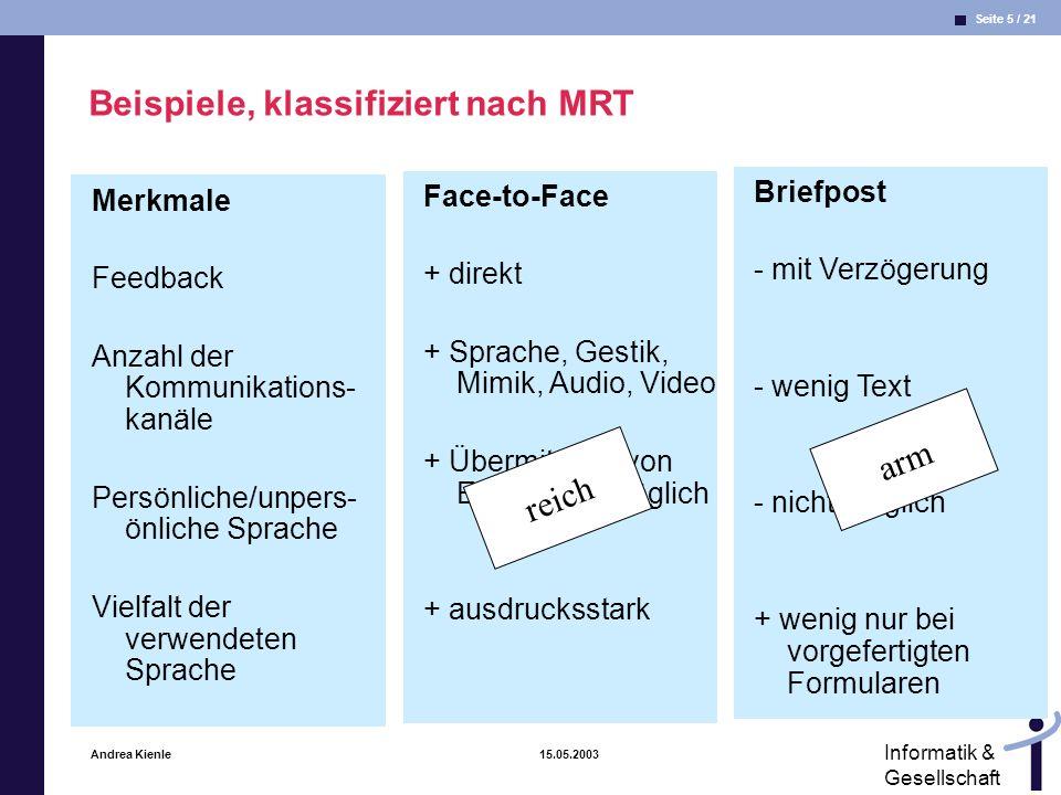 Seite 16 / 21 Informatik & Gesellschaft Andrea Kienle 15.05.2003 MST: Eigenschaften von Kommunikationsmedien Geschwindigkeit des Feedbacks: Wie schnell kann ein Kooperationspartner auf Nachrichten antworten.