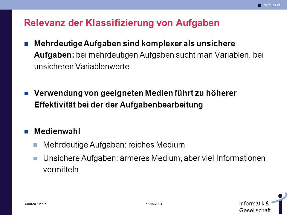 Seite 8 / 21 Informatik & Gesellschaft Andrea Kienle 15.05.2003 Medienwahl abhängig von der Aufgabe aus (Reichwald et al.