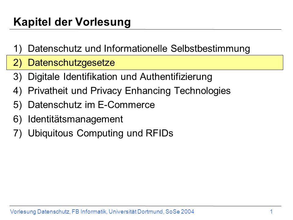Vorlesung Datenschutz, FB Informatik, Universität Dortmund, SoSe 2004 1 Kapitel der Vorlesung 1)Datenschutz und Informationelle Selbstbestimmung 2)Dat
