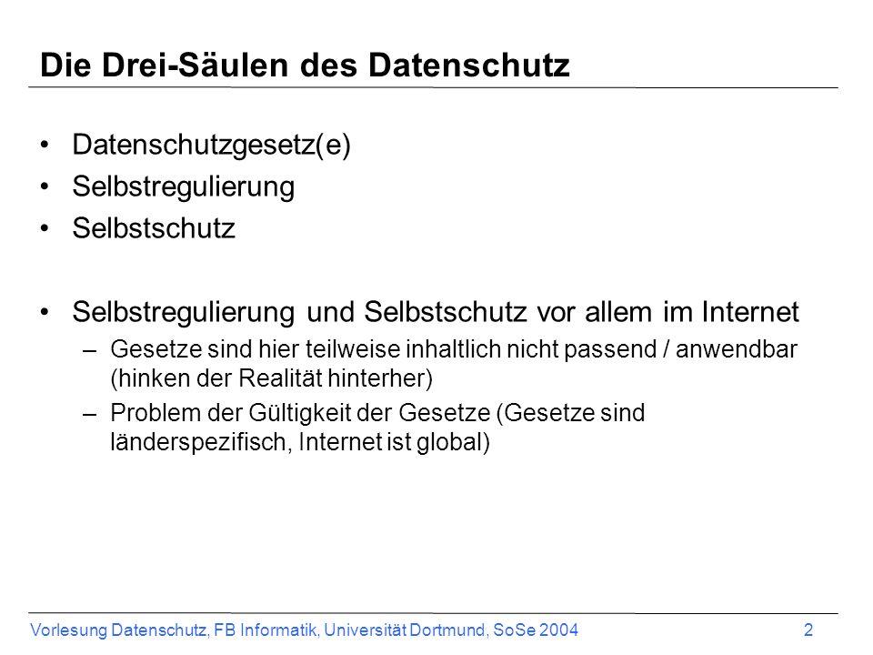 Vorlesung Datenschutz, FB Informatik, Universität Dortmund, SoSe 2004 2 Die Drei-Säulen des Datenschutz Datenschutzgesetz(e) Selbstregulierung Selbsts