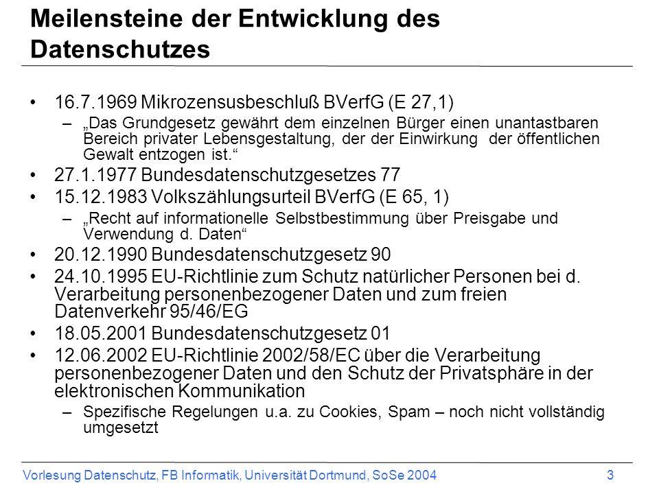 Vorlesung Datenschutz, FB Informatik, Universität Dortmund, SoSe 2004 3 Meilensteine der Entwicklung des Datenschutzes 16.7.1969 Mikrozensusbeschluß B