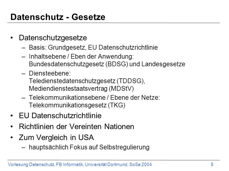 Vorlesung Datenschutz, FB Informatik, Universität Dortmund, SoSe 2004 5 Datenschutz - Gesetze Datenschutzgesetze –Basis: Grundgesetz, EU Datenschutzri