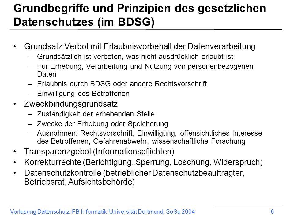 Vorlesung Datenschutz, FB Informatik, Universität Dortmund, SoSe 2004 6 Grundbegriffe und Prinzipien des gesetzlichen Datenschutzes (im BDSG) Grundsat