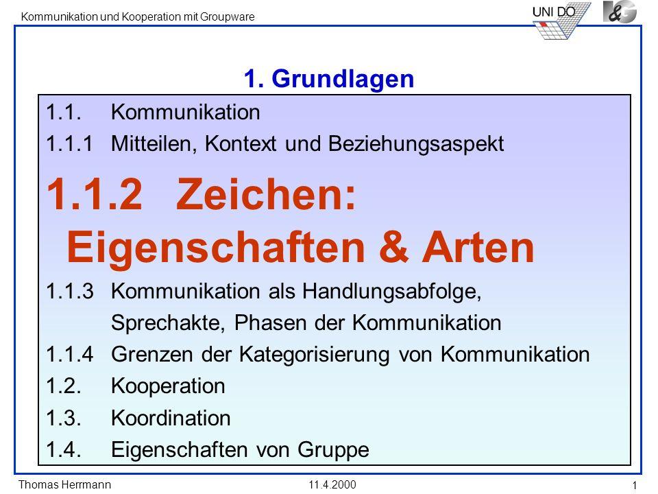 Thomas Herrmann Kommunikation und Kooperation mit Groupware 11.4.2000 1 1. Grundlagen 1.1. Kommunikation 1.1.1 Mitteilen, Kontext und Beziehungsaspekt