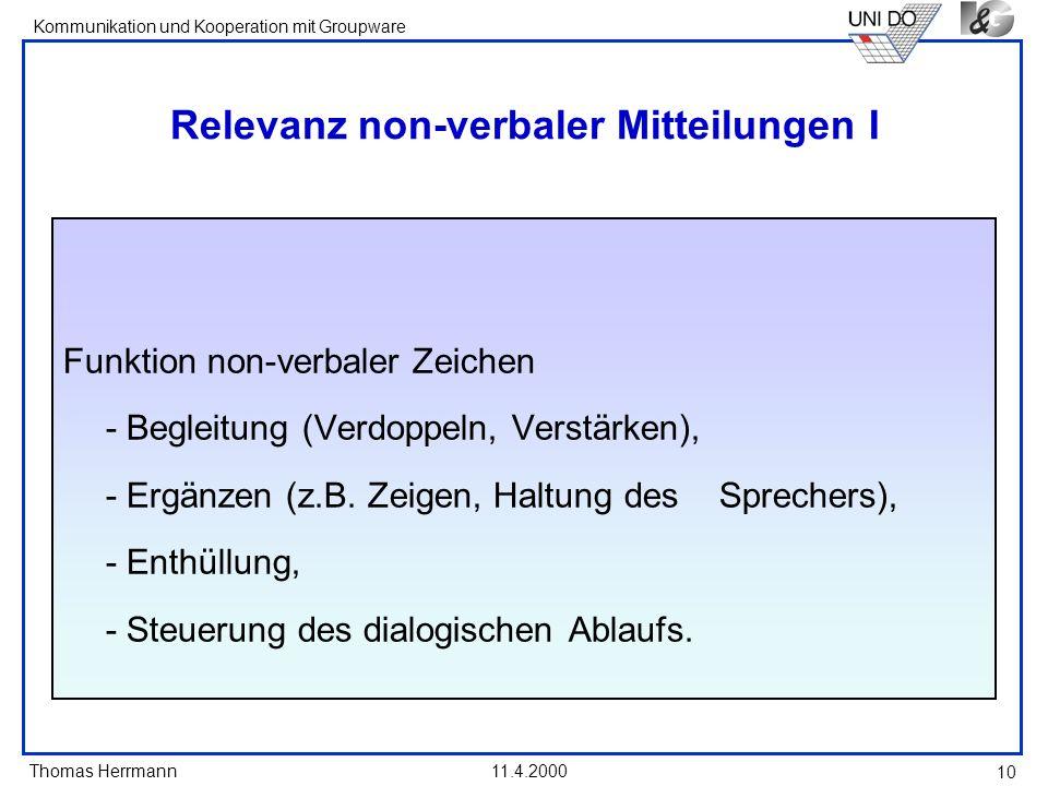 Thomas Herrmann Kommunikation und Kooperation mit Groupware 11.4.2000 10 Relevanz non-verbaler Mitteilungen I Funktion non-verbaler Zeichen - Begleitu