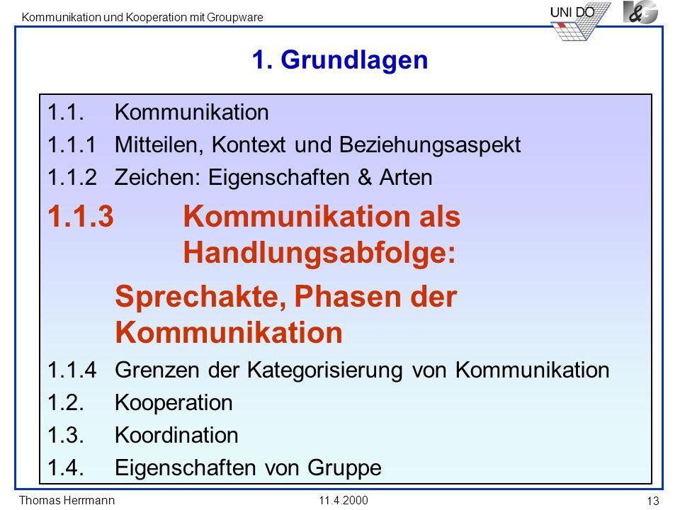 Thomas Herrmann Kommunikation und Kooperation mit Groupware 11.4.2000 13 1. Grundlagen 1.1. Kommunikation 1.1.1 Mitteilen, Kontext und Beziehungsaspek
