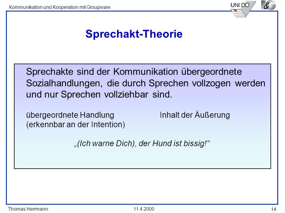 Thomas Herrmann Kommunikation und Kooperation mit Groupware 11.4.2000 14 Sprechakt-Theorie Sprechakte sind der Kommunikation übergeordnete Sozialhandl