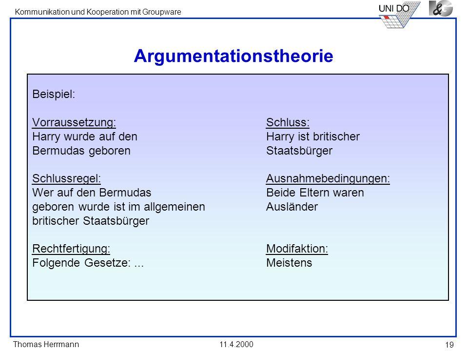 Thomas Herrmann Kommunikation und Kooperation mit Groupware 11.4.2000 19 Argumentationstheorie Beispiel: Vorraussetzung:Schluss: Harry wurde auf denHa