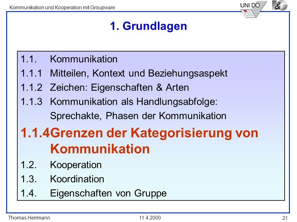 Thomas Herrmann Kommunikation und Kooperation mit Groupware 11.4.2000 21 1. Grundlagen 1.1. Kommunikation 1.1.1 Mitteilen, Kontext und Beziehungsaspek