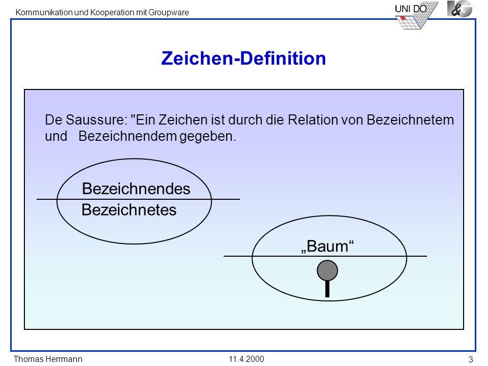 Thomas Herrmann Kommunikation und Kooperation mit Groupware 11.4.2000 14 Sprechakt-Theorie Sprechakte sind der Kommunikation übergeordnete Sozialhandlungen, die durch Sprechen vollzogen werden und nur Sprechen vollziehbar sind.
