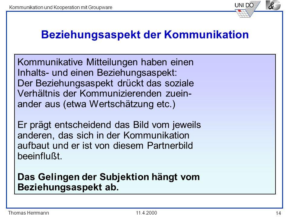 Thomas Herrmann Kommunikation und Kooperation mit Groupware 11.4.2000 14 Beziehungsaspekt der Kommunikation Kommunikative Mitteilungen haben einen Inh