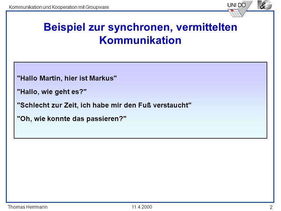 Thomas Herrmann Kommunikation und Kooperation mit Groupware 11.4.2000 2 Beispiel zur synchronen, vermittelten Kommunikation