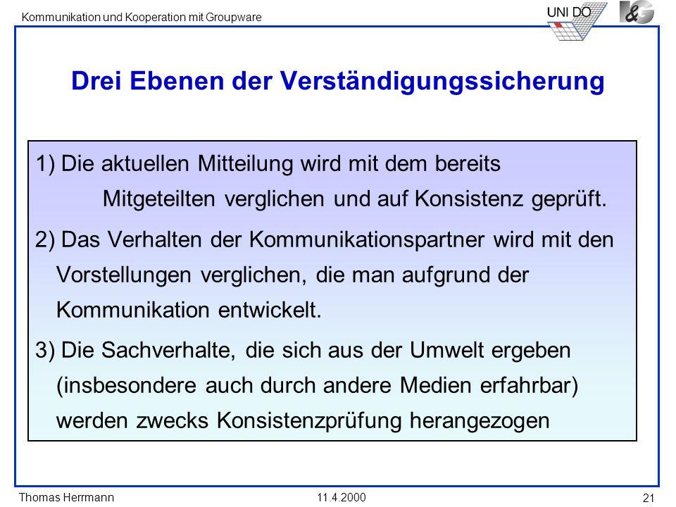 Thomas Herrmann Kommunikation und Kooperation mit Groupware 11.4.2000 21 Drei Ebenen der Verständigungssicherung 1) Die aktuellen Mitteilung wird mit