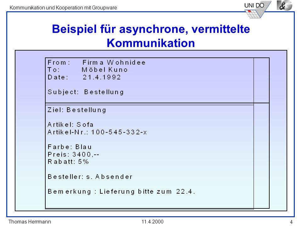 Thomas Herrmann Kommunikation und Kooperation mit Groupware 11.4.2000 4 Beispiel für asynchrone, vermittelte Kommunikation