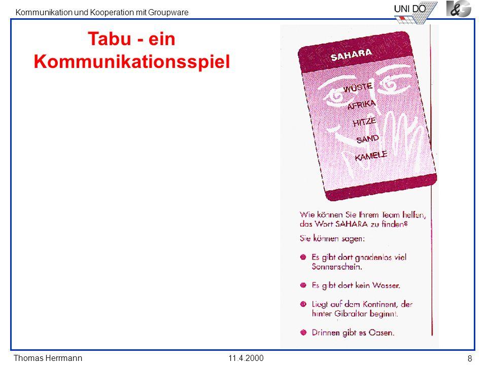 Thomas Herrmann Kommunikation und Kooperation mit Groupware 11.4.2000 8 Tabu - ein Kommunikationsspiel