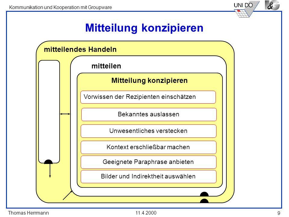 Thomas Herrmann Kommunikation und Kooperation mit Groupware 11.4.2000 9 Mitteilung konzipieren mitteilendes Handeln Mitteilung konzipieren mitteilen V