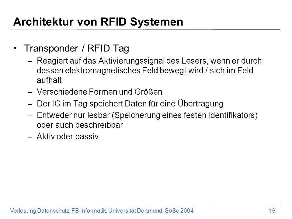 Vorlesung Datenschutz, FB Informatik, Universität Dortmund, SoSe 2004 16 Architektur von RFID Systemen Transponder / RFID Tag –Reagiert auf das Aktivi