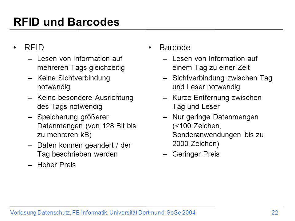 Vorlesung Datenschutz, FB Informatik, Universität Dortmund, SoSe 2004 22 RFID und Barcodes RFID –Lesen von Information auf mehreren Tags gleichzeitig