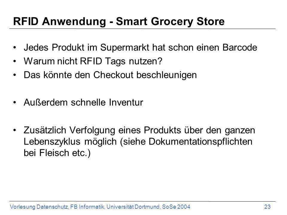 Vorlesung Datenschutz, FB Informatik, Universität Dortmund, SoSe 2004 23 RFID Anwendung - Smart Grocery Store Jedes Produkt im Supermarkt hat schon ei
