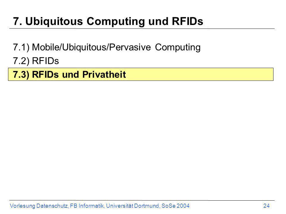 Vorlesung Datenschutz, FB Informatik, Universität Dortmund, SoSe 2004 24 7. Ubiquitous Computing und RFIDs 7.1) Mobile/Ubiquitous/Pervasive Computing