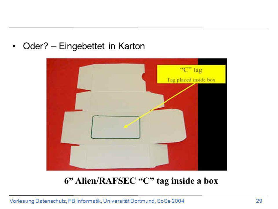 Vorlesung Datenschutz, FB Informatik, Universität Dortmund, SoSe 2004 29 Oder? – Eingebettet in Karton 6 Alien/RAFSEC C tag inside a box