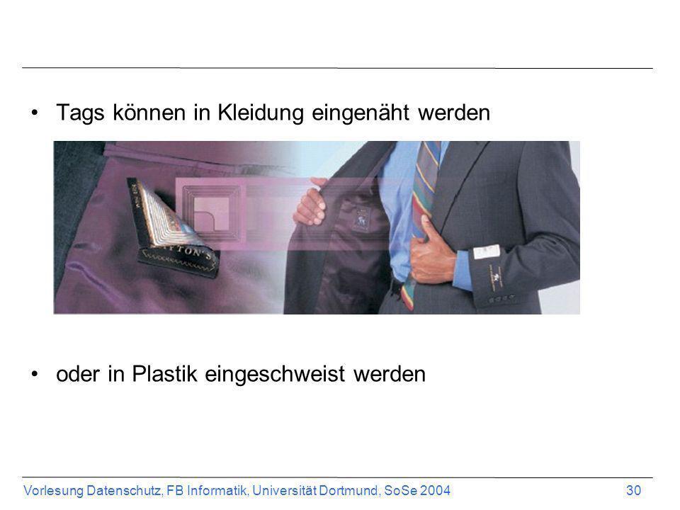 Vorlesung Datenschutz, FB Informatik, Universität Dortmund, SoSe 2004 30 Tags können in Kleidung eingenäht werden oder in Plastik eingeschweist werden