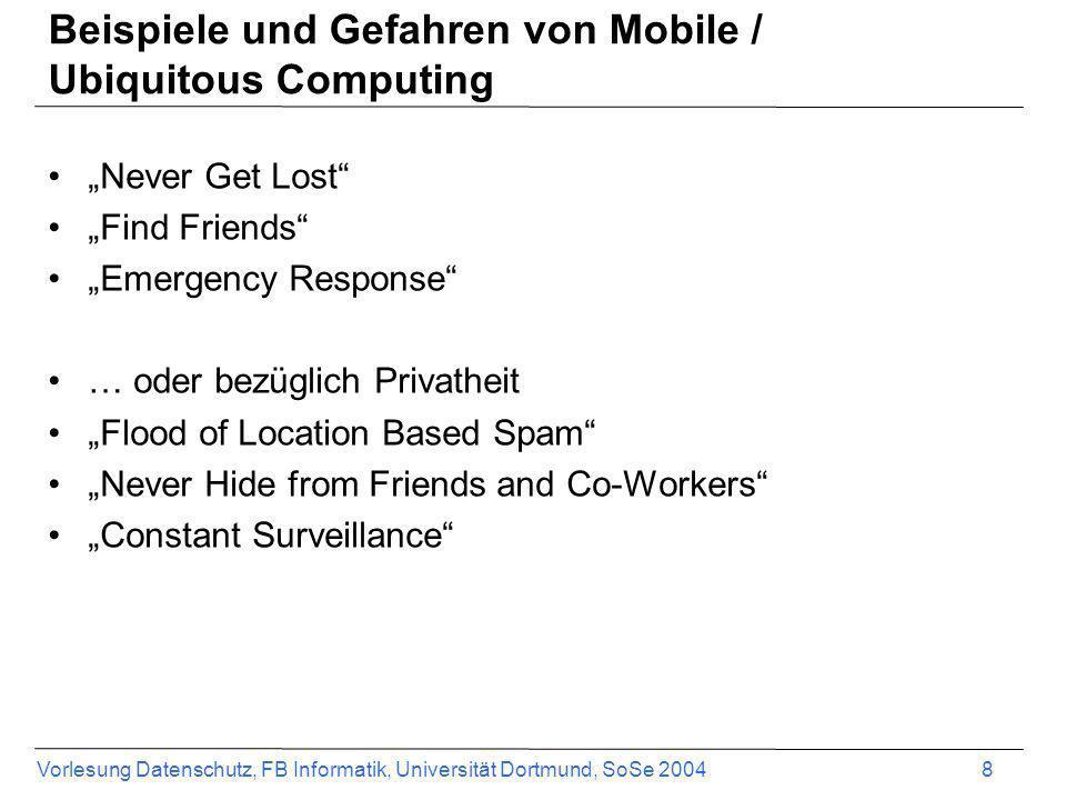 Vorlesung Datenschutz, FB Informatik, Universität Dortmund, SoSe 2004 8 Beispiele und Gefahren von Mobile / Ubiquitous Computing Never Get Lost Find F