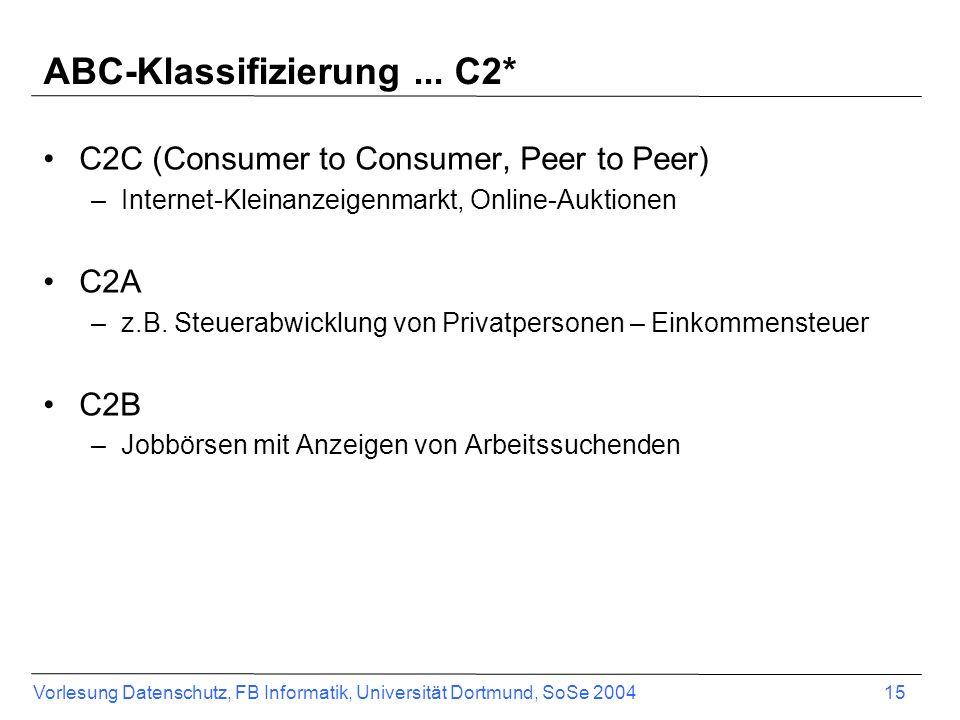Vorlesung Datenschutz, FB Informatik, Universität Dortmund, SoSe 2004 16 ABC-Klassifizierung...