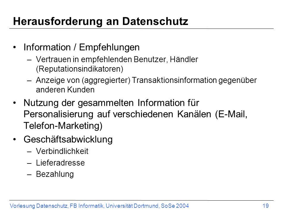 Vorlesung Datenschutz, FB Informatik, Universität Dortmund, SoSe 2004 20 Produktempfehlungen auf Online- Meinungsbörsen